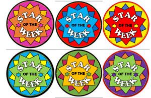 STAR of the week stickers 24 kids stickers school praise reward stars 48 72 96