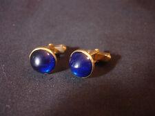 Old Vtg Gold Tone Round Faux Blue Stone Gem Cufflinks Jewelry