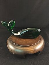 Collectible Art Animal Sculpture Green Glass Whale