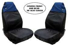 4pcs Universal Front Car Seat Covers Inc Headrest Black/blue Washable & Safe