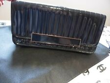 TED BAKER Ladies Black patent ribbed CLUTCH HANDBAG
