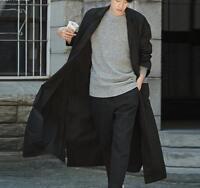 Mens Korean Full Length Trench Coat Loose Casual Spring Overcoat Coat Size S-3XL