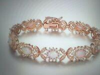 14K ROSE GOLD PL LCS COLORFUL OPAL DIAMOND BRACELET  7.5  INCH + BONUS