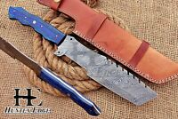 HUNTEX Custom Handmade Damascus Steel 14 Inch Long PakkaWood Hunting Track Knife