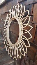 sunflower rattan mirror - sunflower shaped rattan mirror - wall mirror -
