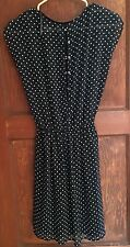 Trafaluc Women' XS Sleeveless Dress Blue W/Polka Dots