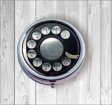 ROTARY DIAL VINTAGE PHONE PILL BOX ROUND -jhy6Z