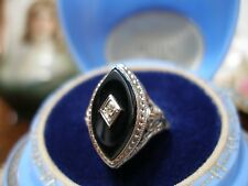 ANTIQUE 14K WHITE GOLD FILIGREE DIAMOND MARQUISE ONYX RING ART DECO 1920'S