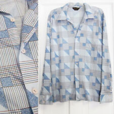 Vintage 70s Mens Shirt Blue Knit Disco Mr. Jan Button Up L XL Large Geometric
