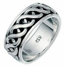 Elements 925 Oxidised Sterling Silver Celtic Twist Spinning 'Stress' Band Ring