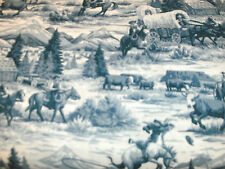 Cowboy Quilt Fabric Rawhide Scenic Toile Allover Blue Cowboys Mountains BTY