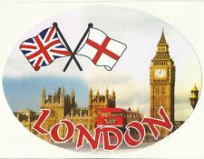 London & Union Jack  & St George Flags Oval External Car Bumper Sticker Decal