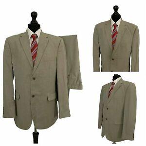 Mens 2 Piece Suit 42R 40W 31L Beige Lightweight Formal Business  P119