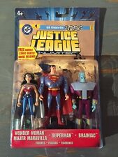 2005 JLU FIGURE SET WITH COMIC-PLANET PATROL WONDER WOMAN SUPERMAN BRAINIAC MISP