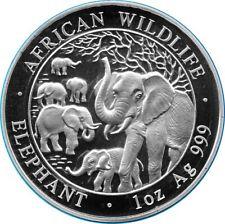 1 OZ Unze Silber Somalia Elefant 2008 African Wildlife BU in Kapsel