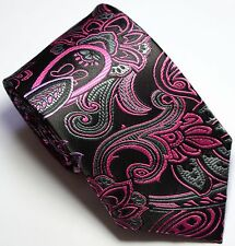 New Classic Paisley Floral Dark Brown Pink JACQUARD WOVEN Silk Men's Tie Necktie