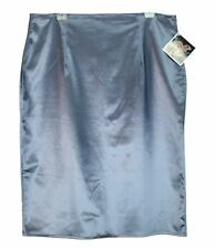 MODE MERR 3X Pencil Skirt USA 50'S Pinup Rockabilly Blue/Silver Satin Retro NWT