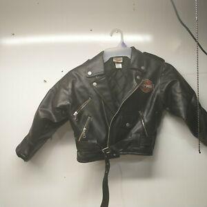 Childs Size 7 Boys Harley Davidson Simulated Leather Biker Jacket Coat