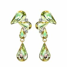 Yellow Gold Plated Made with Green Swarovski Crystal Drop Dangle Earring Jewelry