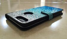 Faded Blue Made with Swarovski Crystals Bling Shiny Card Wallet Case Galaxy S7