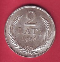 R* LATVIA 2 LATI SILVER 1926 XF/XF+ DETAILS