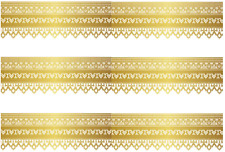 Gold Trim Pre Cut A4 Edible Icing Cake Side Strips / Ribbon 3 strips