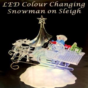 LED Light Up Snowman on Sleigh Christmas Decoration Festive
