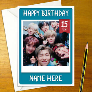 BANGTAN BOYS Personalised Birthday Card - korean bts music personalized k-pop