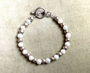 SILPADA STERLING SILVER PEARL BRACELET 925 8 INCHES LONG