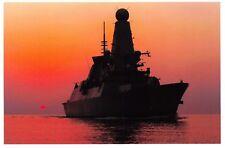 Postcard Royal Navy Type 45 Destroyer HMS Dragon at Sunset, Middle East 2013 J98