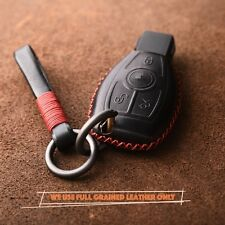 2/3 Buttons HANDMADE Full Grain Leather Mercedes Benz key chain cover shell FOB