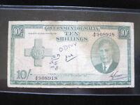 MALTA 10 SHILLINGS 1951 P22 BRITISH KING 72# WORLD BANK CURRENCY BANKNOTE MONEY