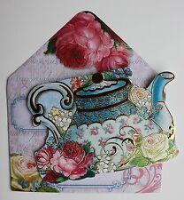 *PUNCH STUDIO Set of 4 Gold Foil Blank Note Cards w/Env~Floral~Roses~Blue Teacup