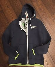 BNWT Superdry Scuba Tab Zip Hoodie Jacket Navy/ Neon Green Accents Large. Rare!