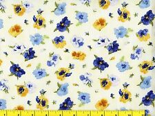 Blue & Yellow Pansy Flowers on Cream Pansies Quilting Fabric by Yard  #906