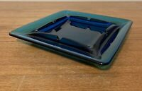 Vintage Mid Century MCM Multi Hue Blue Glass Ashtray 8x8 Retro STUNNING