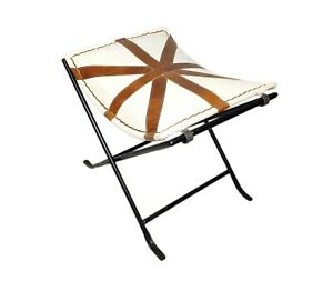 Handmade Leather Belt Canvas Karr Stool Iron Folding Stand Room Chair S6-55