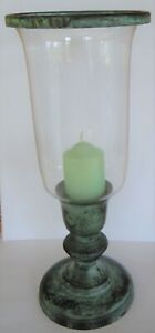 Vintage Glass Hurricane Candle Lamp with Metal Bronze Effect Base & Green Candle