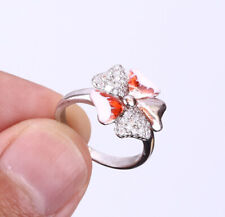 HEARTS TOPAZ .925 SOLID STERLING SILVER RING SIZE 6.5 #21417