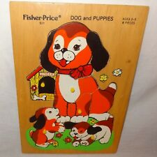 Dog Puppies Puzzle Wooden Tray Jigsaw Fisher Price Age 2 to 5 Peek Pick Up Peg