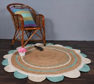 indian design rug round scalloped beautiful round beige & white-sky blue color