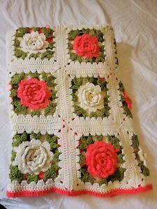 "Vintage Crochet 3D Rose Afghan Blanket 50"" X 72"" Hot Pink Coral Roses Handmade"