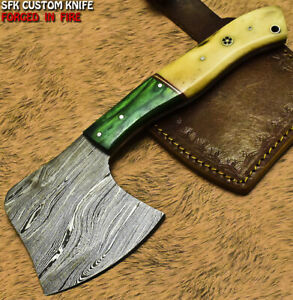 SFK Hand Forged Damascus Steel Camel Bone Hunting Clever Chopper Axe Knife