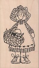 Judith Country Girl With Basket Full Of Flowers Rubber Stamp