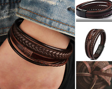 Men Women Braided Leather Bracelet Handmade Magnetic Buckle Wristband Bangle