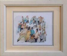 Lucien DESMEDT 1919-1993.Le peintre entouré de curieux.Aquarelle.SBG.15x18