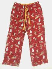 Nick & Nora Medium M Drawstring Red Flannel Sock Monkey Pants Pajama Lounge