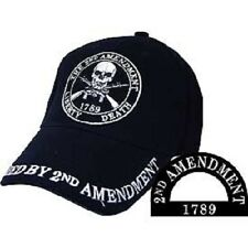 Protected by the 2nd Amendment 1789 Skull Liberty or Death Black Cap Hat