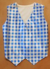 NWT Wolff Fording Blue Gingham Check Vest Medium Child Dance Costuming