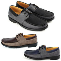 New Mens Faux Leather Lace Up Deck Boat Casual Shoes Size 6 7 8 9 10 11 12